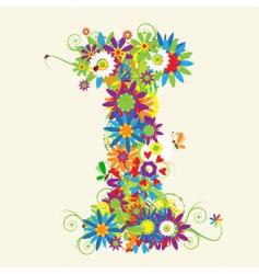 Letter I floral design vector