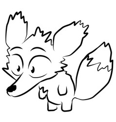 Little fox line drawing vector