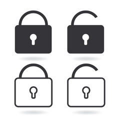 lock line icon and black lock icon isolated on vector image
