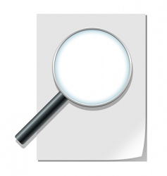 magnifier and paper sheet vector image