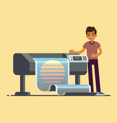 Man worker at plotter printing wide format large vector