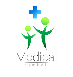 medical sign with cross family symbol for vector image