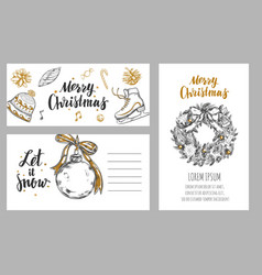 merry christmas festive winter cards design vector image