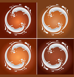milk circle splash on chocolate background vector image