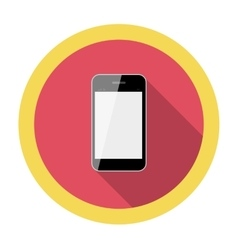 Mobile Phone Flat Icon with Long Shadow vector image