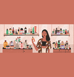 Natural cosmetics eco products choosing in store vector