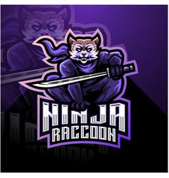 Ninja raccoon esport mascot logo design vector