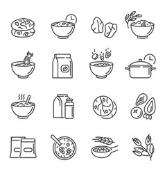 oatmeal cookies thin line icons set isolated on vector image