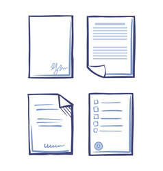 Office paper and documentation sketches vector