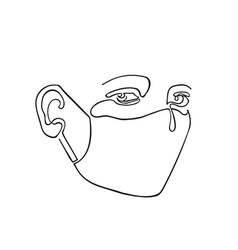 outline portpait masked man vector image