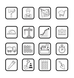Outline web icon set Building construction vector