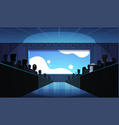 People group sitting cinema rows back rear view vector