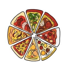 Pizza sketch for your design vector