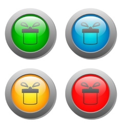 Present icon set on glass buttons vector image