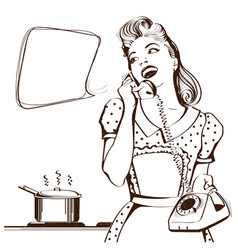 Retro young woman talking on phone in her kitchen vector