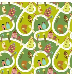Road seamless pattern with houses and animals vector