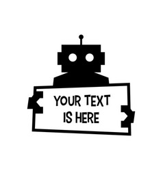 robot holding text sign paper cyborg automatic vector image