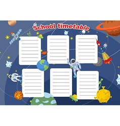 School timetable with space design Lesson plans vector