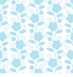 Seamless Floral White Blue Background vector image