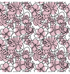 seamless pattern with linear silhouettes pink vector image
