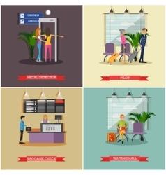 set of airport concept design elements vector image
