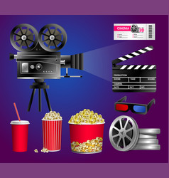 set of cinema objects - modern realistic vector image