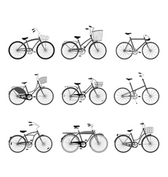 Set of retro bicycles silhouettes vector