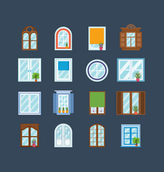 set of wood window frames architecture outdoor vector image