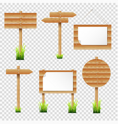 set of wooden notice boards and signposts with vector image