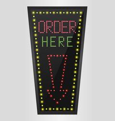 shining retro light banner order here vector image