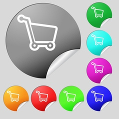 Shopping cart icon sign Set of eight multi colored vector image