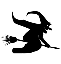 Silhouette of a witch on a broomstick vector