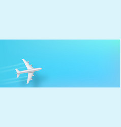 silver airplane top view flying plane on a blue vector image