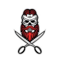 Skull hair and beard scissors mascot vector