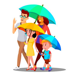 smiling family on a walk under umbrellas in the vector image