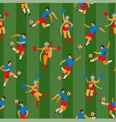 Soccer players and cheerleaders girls in russian vector