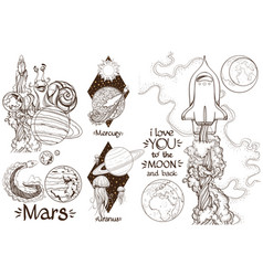 space a set of outline with sketches of tattoos vector image