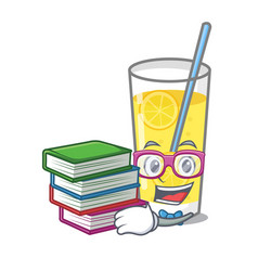 Student with book lemonade mascot cartoon style vector