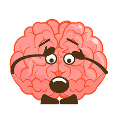 Surprised astonished brain emoticon isolated vector