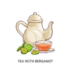 tea with bergamot - healthy hot beverage in glass vector image