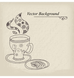 Teacup Vintage Background vector image