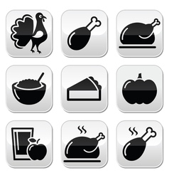 Thanksgiving Day food buttons set - turkey pumpki vector image