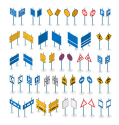 the road streetlight traffic signs set crossroad vector image