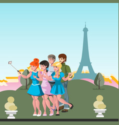 tourists friend make selfie by eiffel tower vector image