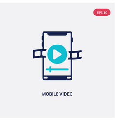 Two color mobile video icon from blogger and vector