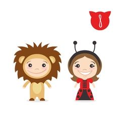 Two happy cute kids characters Boy in lion costume vector