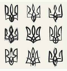 Ukraine coat arms black and white version vector