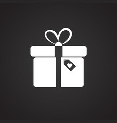 Valentines day gift box flat on black background vector