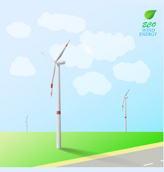 Wind turbines on the background of field and road vector