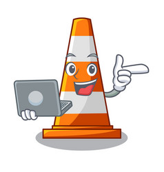 With laptop traffic cone on road cartoon shape vector
